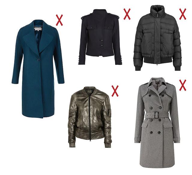 Синее пальто с большим воротником, черная куртка с эполетами, короткий черный пуховик, серебристый бомбер, пальто силуэта тренч
