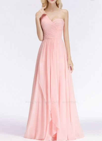 One-shoulder Sleeveless Bridesmaid Dress–Price: US$ 99.00