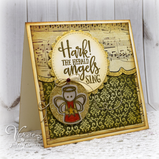 Handmade Christmas card by Julee Tilman featuring Verve Stamps. www.poeticartistry.blogspot.com