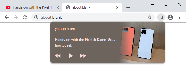 ضوابط تشغيل الوسائط على شريط أدوات Chrome 79.