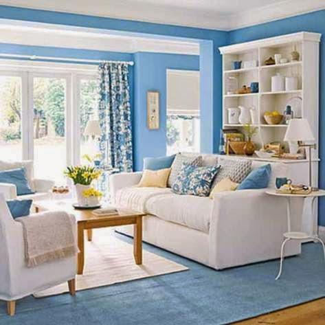 Ruang tamu minimalis warna biru