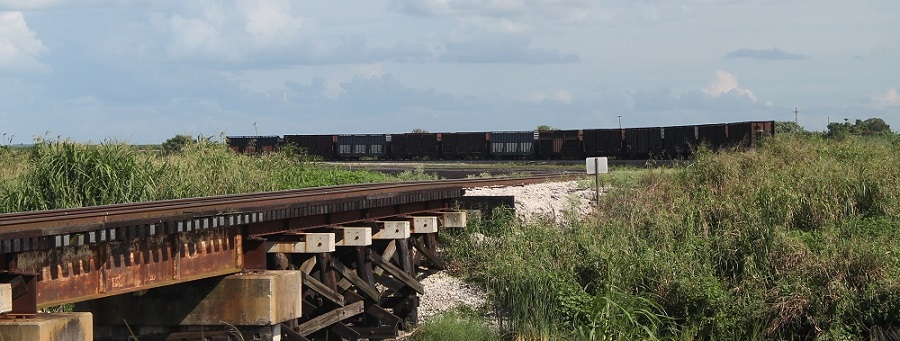 Vías y vagones del ferrocarril de la US Sugar Corporation, el South Central Florida Express