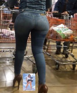 Guapa morena caderona jeans apretados