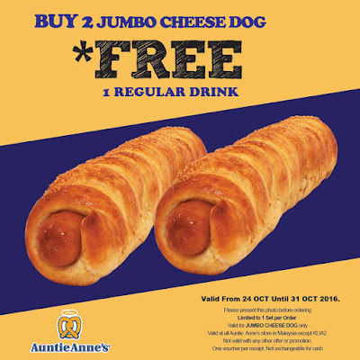 Auntie Anne's Malaysia Free Drink Jumbo Cheese Dog Promo