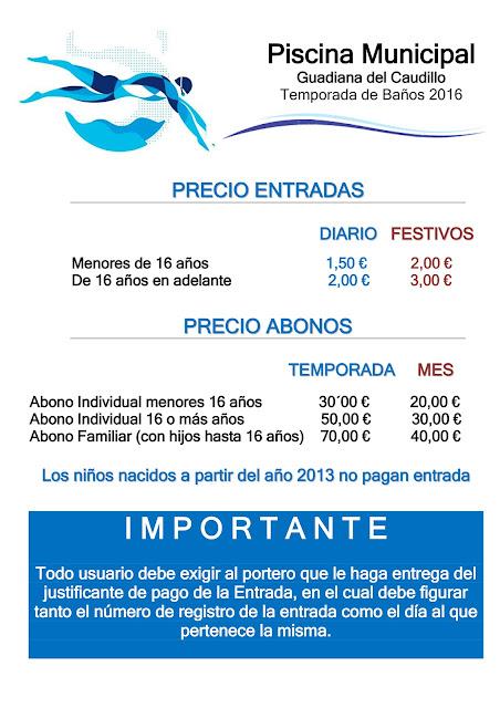 Apertura de la piscina municipal guadiana del caudillo for Precio piscina municipal