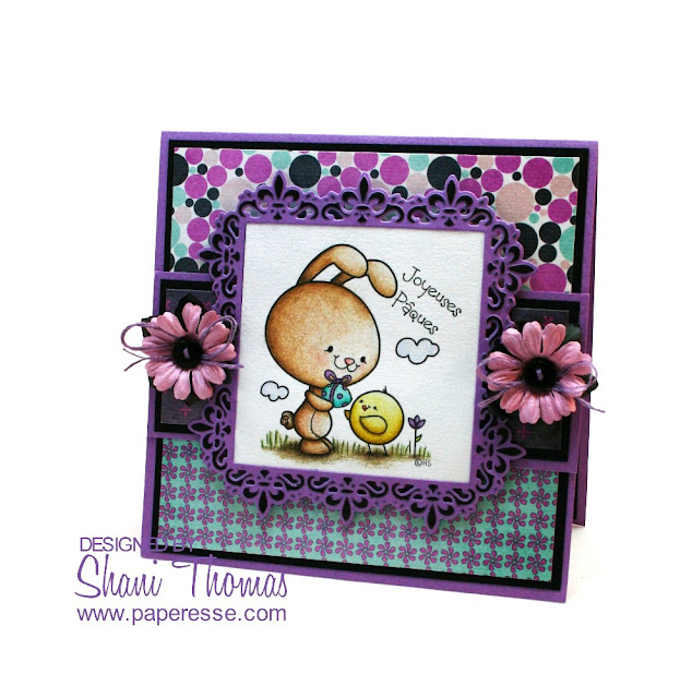 Joyeuses Pâques (Happy Easter in French) card with 2 Cute Ink digital stamp, by Paperesse.