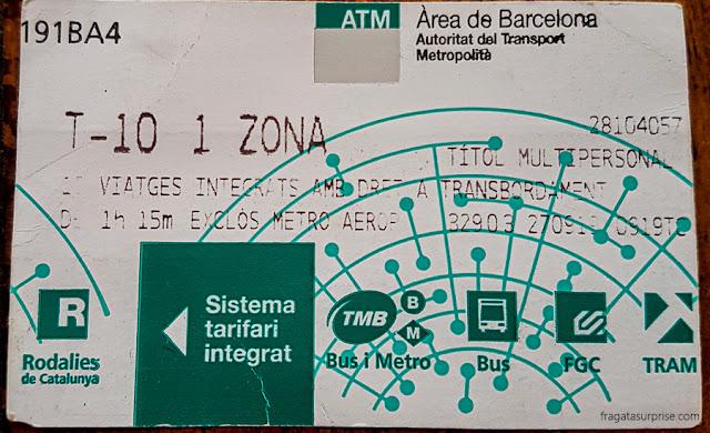 Passe T-10 do metrô de Barcelona