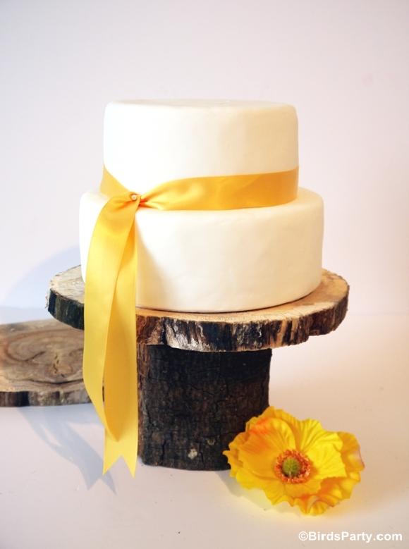 DIY Rustic Log Pedestal Cake Stand - BirdsParty.com