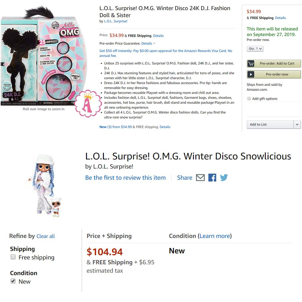 Цена куклы L.O.L. Surprise O.M.G. Winter Disco series 2