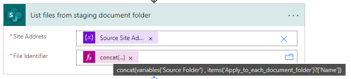 14. List files from staging document folder