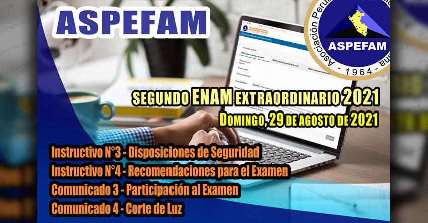 ASPEFAM: Resultados ENAM 2021 (Domingo 29 Agosto) Lista de Aprobados Examen Nacional de Medicina - Segundo Examen Virtual Extraordinario - Prueba Nacional de Facultades de Medicina - www.aspefam.org.pe