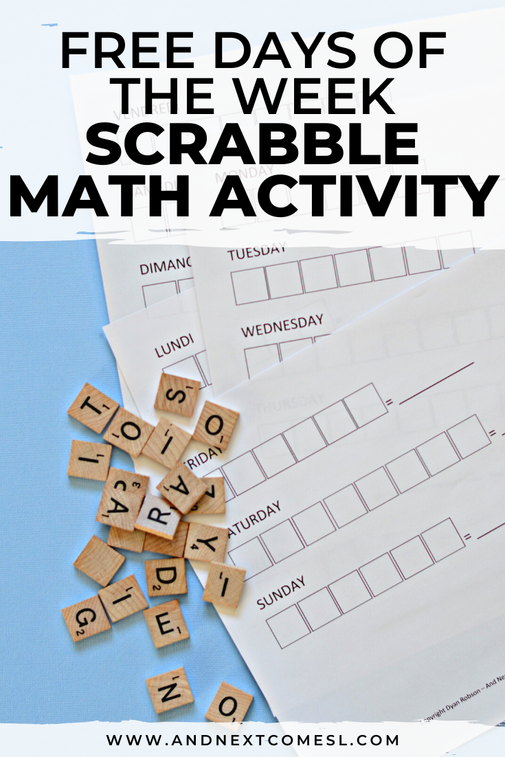 Free printable days of the week Scrabble math worksheets for kids