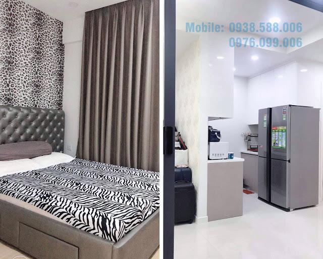 Nội thất phòng ngủ và bếp căn hộ dự án Masteri Millennium 1PN đường Bến Vân Đồn..