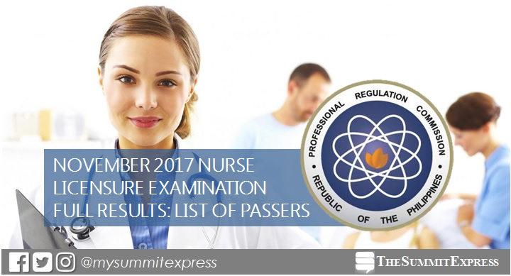 List of Passers: November 2017 NLE Results Nursing Board Exam