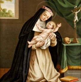Dibujo de Santa Rosa de Lima cargando a Jesús de bebé
