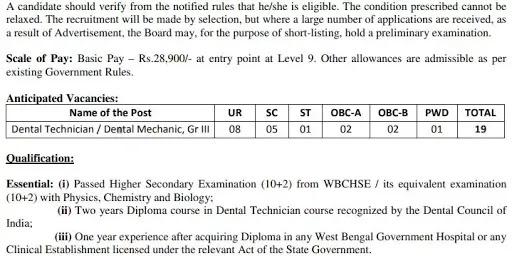 West Bengal Dental Technician Recruitment 2021