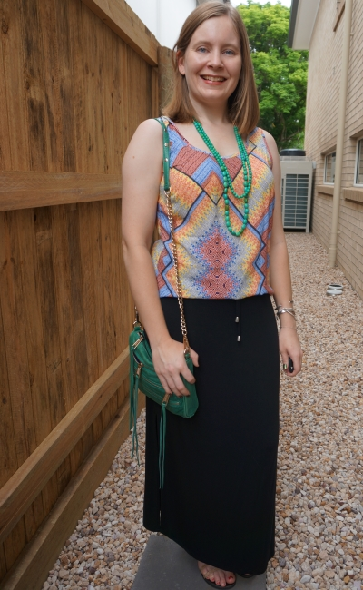 colourful mixed print tank with green necklace and rebecca minkoff mini 5 zip crossbody bag black maxi skirt | awayfromblue