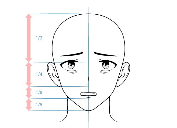 Karakter pria penyendiri anime menggambar wajah takut