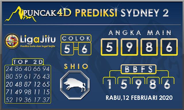 PREDIKSI TOGEL SYDNEY2 PUNCAK4D 12 FEBRUARI 2020