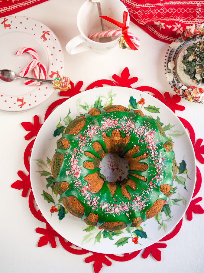 Peppermint Candy Cane Bundt Cake