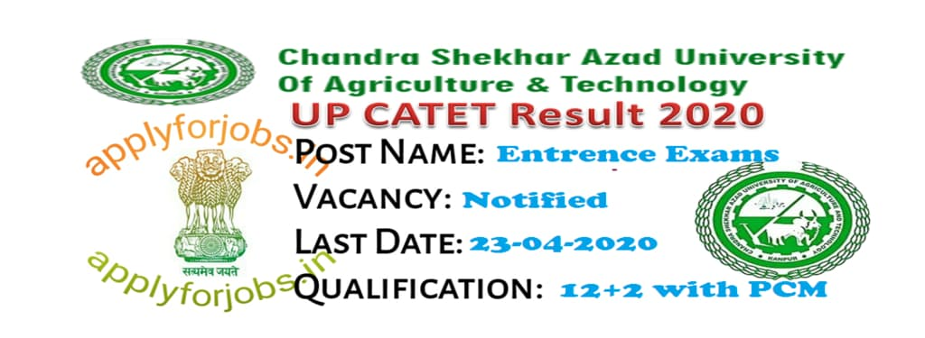 UP CATET 2020 Results Declared, applyforjobs