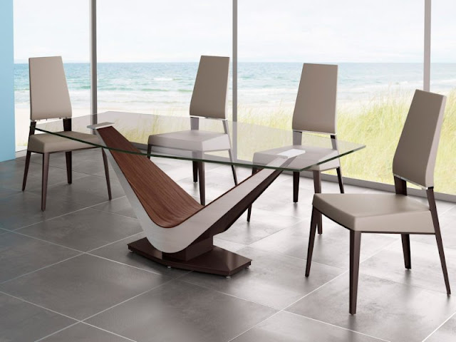 Choosing a Modern Dining Table Choosing a Modern Dining Table quirky table modern dining table wood et stain less steel applied on the grey floor tile it also has glasses windows design ideas it also has awesome view arround