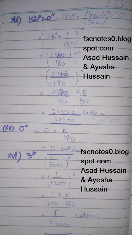 FSc ICS FA Notes Math Part 1 Chapter 9 Fundamentals of Trigonometry Exercise 9.1 Question 1 by Asad Hussain & Ayesha Hussin 4