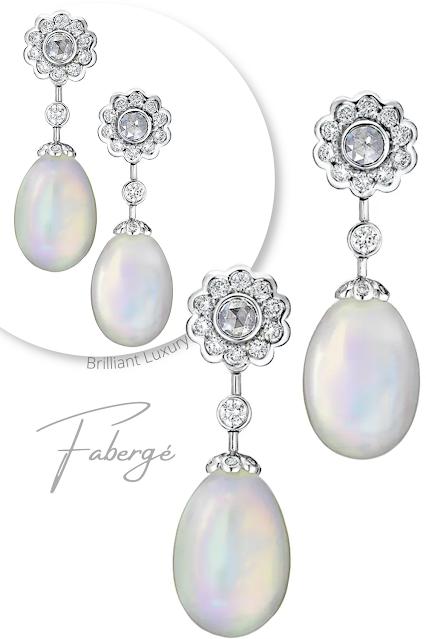 Fabergé Imperial Karenina white gold opal diamond drop earrings #brilliantluxury