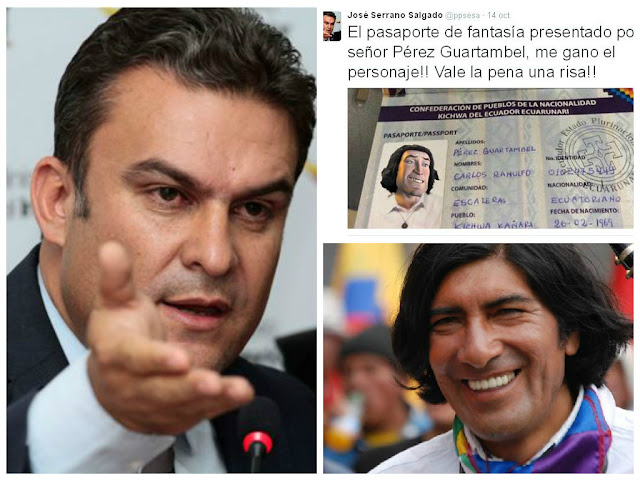 ministro jose serrano pasaporte indigena carlos perez guartambel