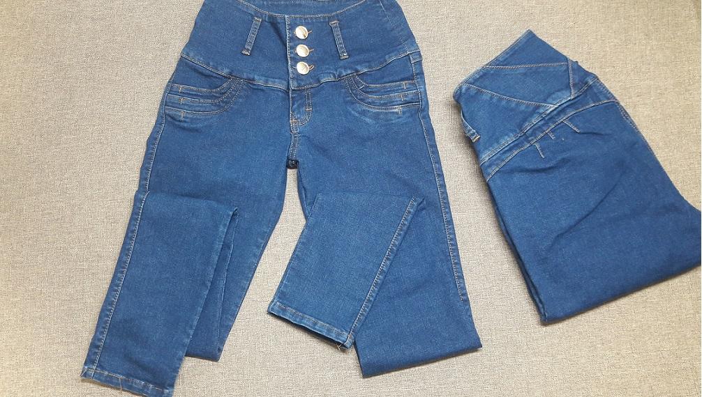 Modelo # 18 Pantalón Tono Azul, Pretina Ancha, Cortes en Pretina