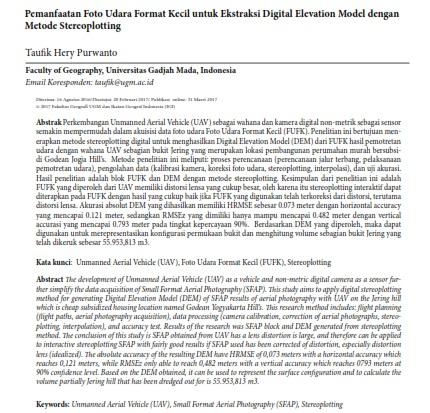 Pemanfaatan Foto Udara Format Kecil untuk Ekstraksi Digital Elevation Model [Paper]