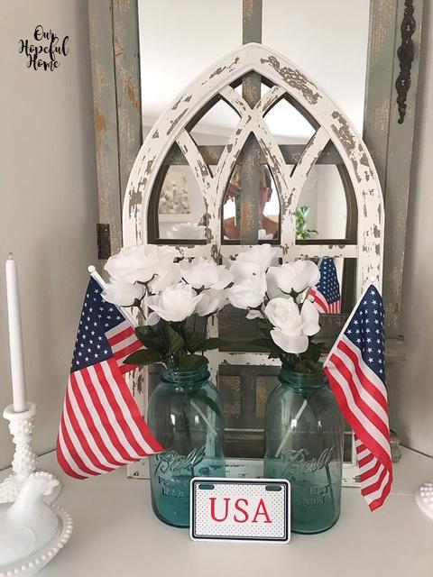 Dollar Tree American flags blue glass Mason jar milk glass candlestick