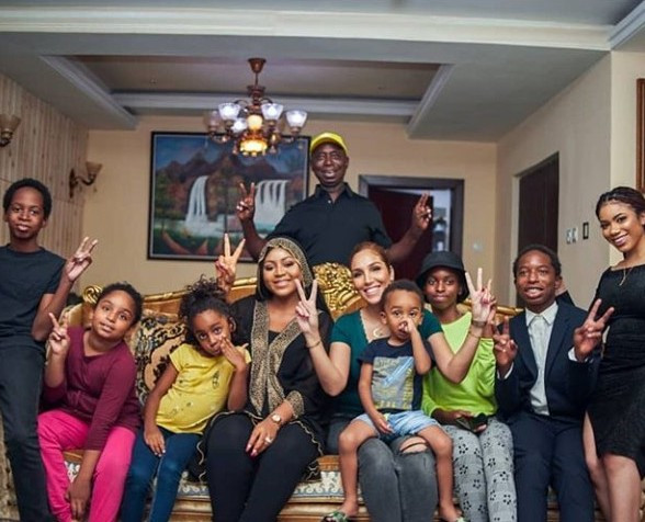 Ned Nwoko shows off his wives and children