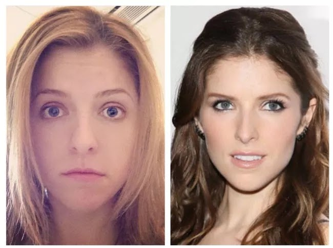 24 Pictures Of Famous Women With And Without Makeup - Anna Kendrick