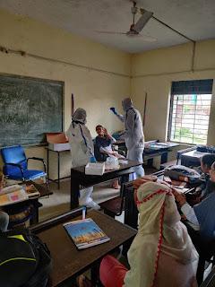 शालाओं में विद्यार्थियों के ले रहे हैं सेंपल