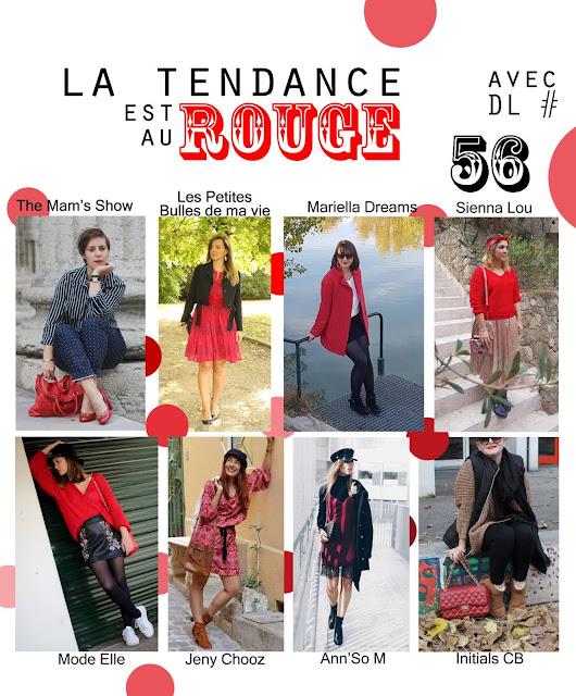 défi look tendance rouge, robe maje, les petites bulles de ma vie
