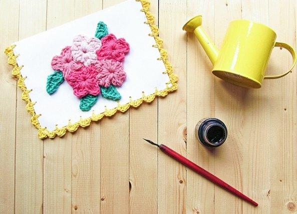 Tarjeta flores crochet para el dia de la Madre