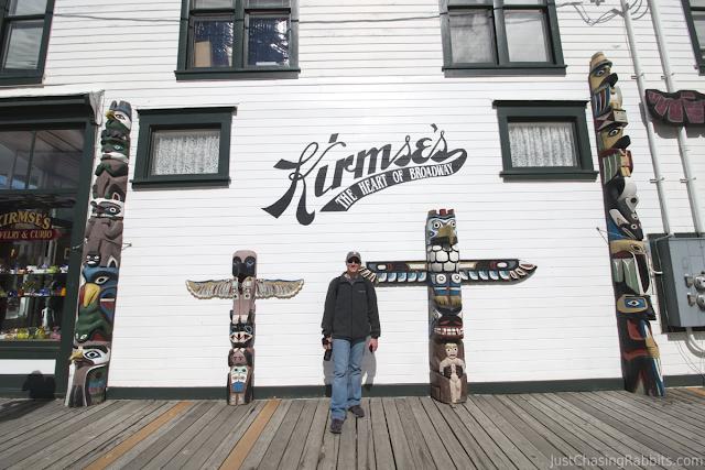 Mark in front of Kirmse's souvenir store in Skagway, Alaska.
