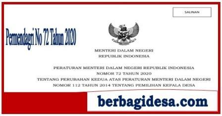 Permendagri Nomor 72 Tahun 2020  Tentang Pemilihan Kepala Desa Masa Covid-19