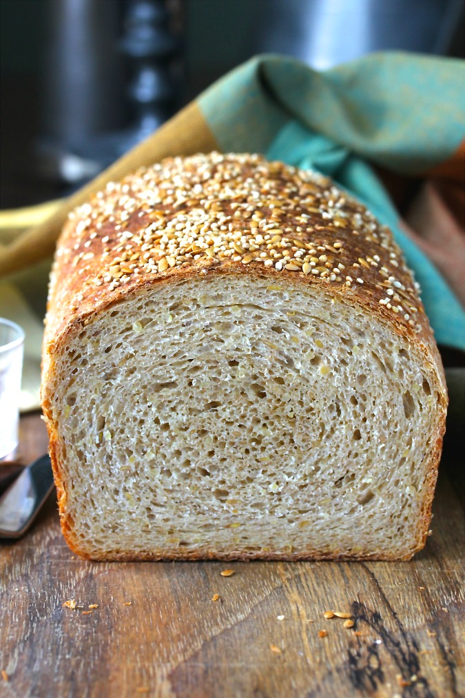 This whole wheat quinoa bread is packed with high protein quinoa and flax seeds.