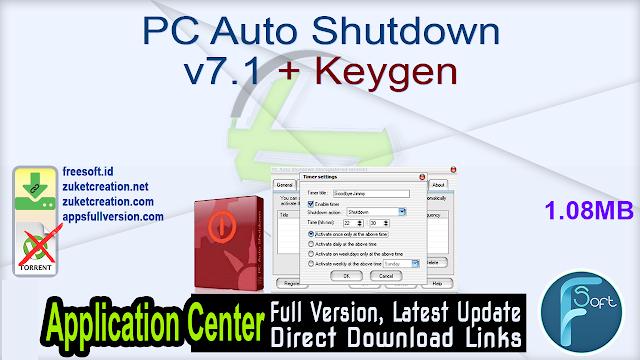 PC Auto Shutdown v7.1 + Keygen