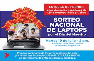 entrega de las 800 Laptops este 19 de julio con los ganadores de Lima Metropolitana y el Callao