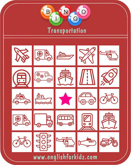 Free printable bingo game for the transportation topic
