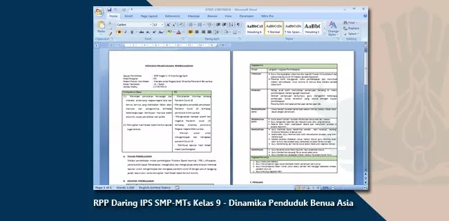 Contoh RPP Daring IPS SMP-MTs Kelas 9 - Dinamika Penduduk Benua Asia