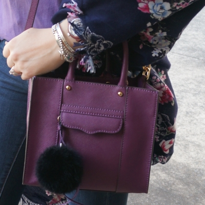 pom pom charm Rebecca Minkoff mini MAB tote in plum | Away From The Blue