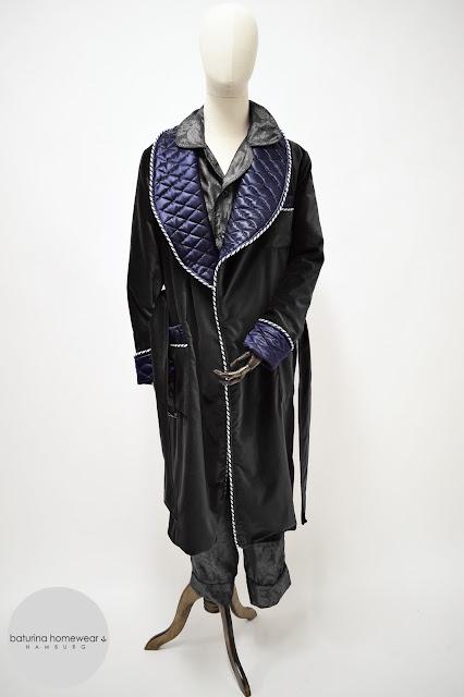 mens black velvet dressing gown quilted silk smoking jacket robe