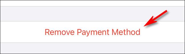 """اضغط على """"إزالة طريقة الدفع"""""""