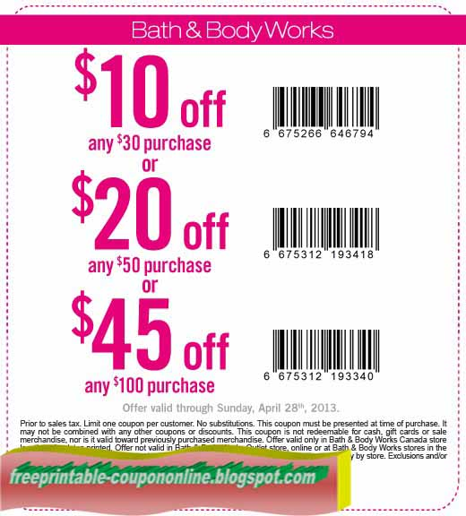 Coupon for bath and body works in store