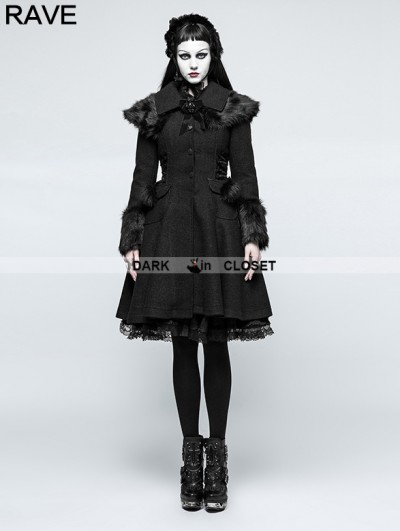 Punk Rave Gothic Lolita Fur Worsted Coat for Women