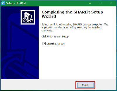 Gambar ilustrasi tampilan Finish aplikasi SHAREit